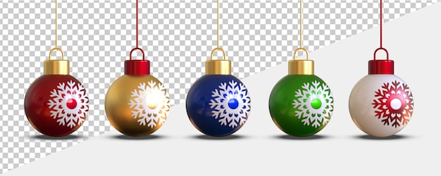 3d render of christmas balls isolated