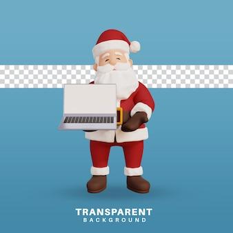 空白の画面でラップトップを保持している3dレンダリングクリスマスコンセプトイラストサンタ