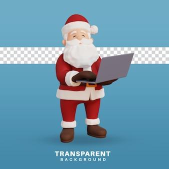 ラップトップで動作する3dレンダリングクリスマスコンセプトイラストサンタ