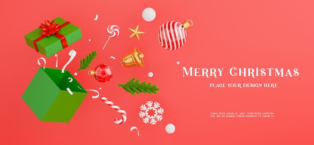 3d-рендеринг рождественского подарка отскакивает от подарочной коробки с концепцией счастливого рождества