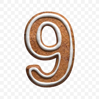 3d render of christmas gingerbread cookie number 9 isolated
