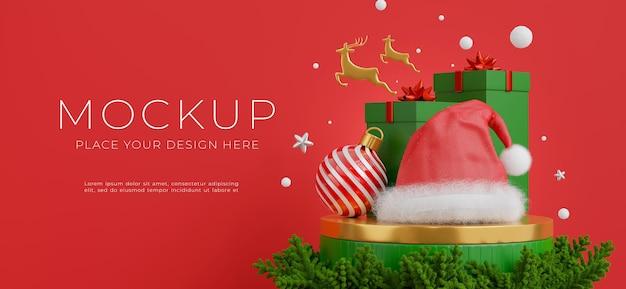 3d визуализация рождественской шляпы на подиуме с концепцией счастливого рождества