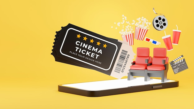 3d render of cinema ticket popup from smartphone with booking tickets online