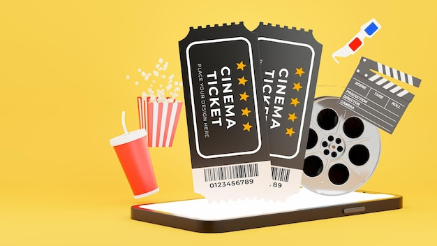 3d render of cinema ticket popup from smartphone with booking tickets onling