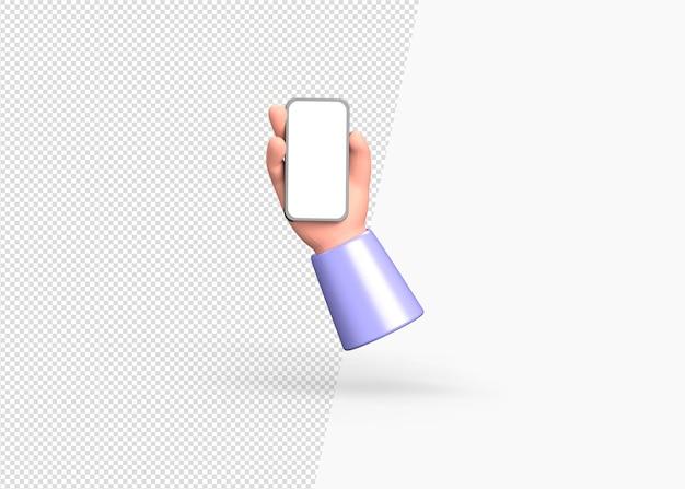3d 렌더링 근접 촬영 손을 잡고 빈 화면으로 스마트 폰