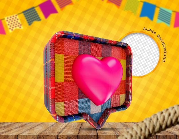 3d render cloth texture heart festa junina in brazil