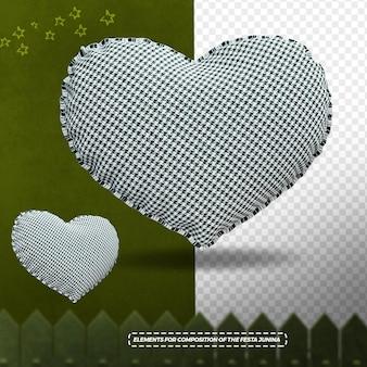 3d render cloth texture heart for festa junina