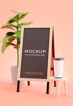 3d render of coffee menu board mockup