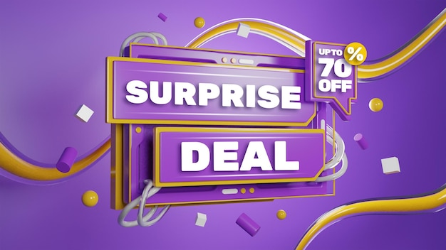 3d render colorful sale discount promotion banner