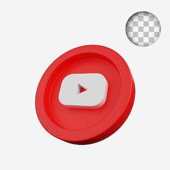 3d визуализация концепции монеты значка социальных сетей youtube