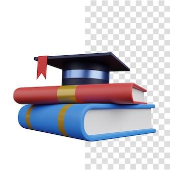 3d визуализация концепции образования с книгой и шляпой тога