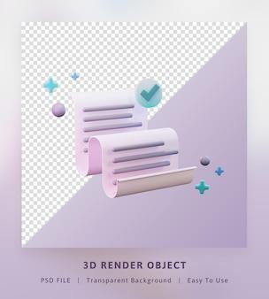 3d 렌더링 개념 아이콘은 풀 컬러를 보내기 위해 종이 성공의 데이터 시트를 보냅니다.