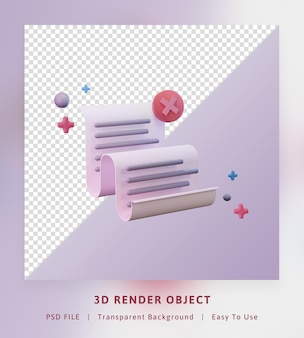 3d render concept icon send datasheet of paper failed to send full color