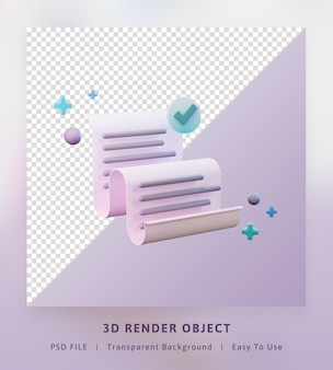 3d render concept icon send datasheet of paper success to send full color