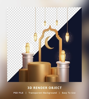 3d render concept ramadan kareem lantern with podium