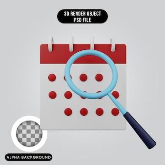 3d визуализация концепции простой значок календаря с лупой