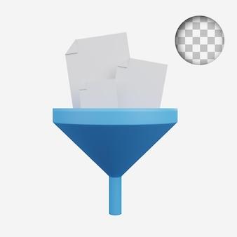 깔때기에 3d 렌더링 개념 기술 아이콘 종이 문서