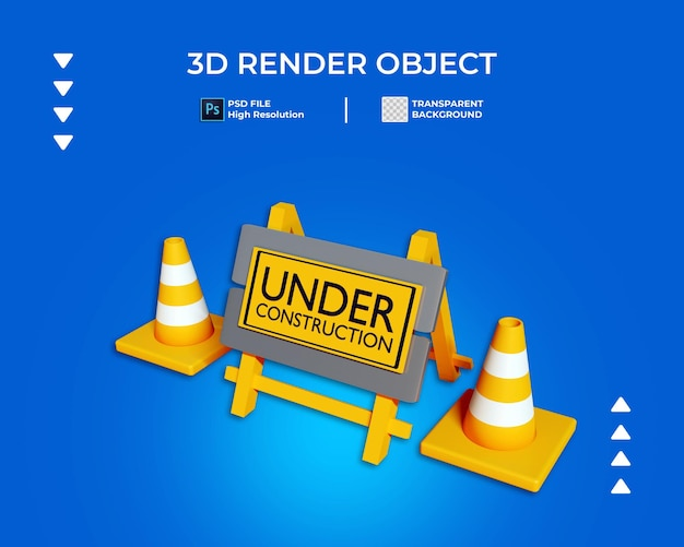 3d render of under construction icon isolated