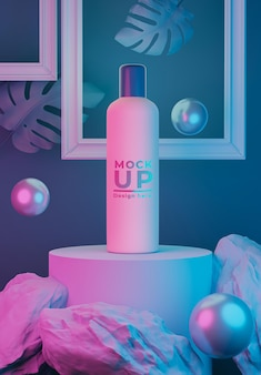 3d render of cosmetic bottle with neon light for mockup branding