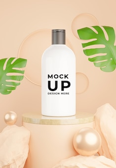 3d render of cosmetic bottle with rock for mockup branding