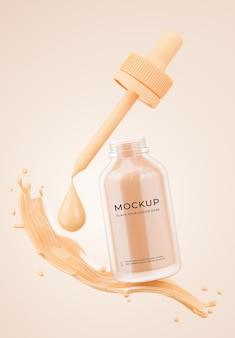 3d render of cosmetics bottle opened cap with foundation cream mockup