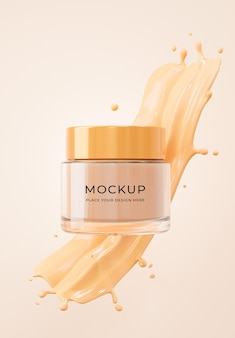 3d render of cosmetics bottle with foundation cream mockup