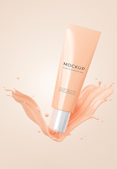 3d render of cosmetics primer bottle with foundation cream mockup