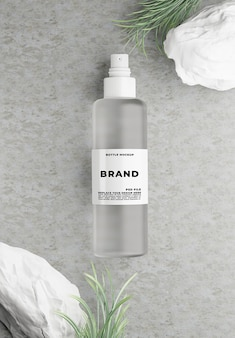 3d render of cosmetics with concrete for mockup branding