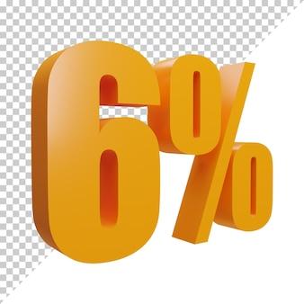 3d рендеринг креативного оранжевого числа 6 процентов