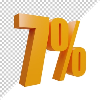 3d рендеринг креативного оранжевого числа 7 процентов