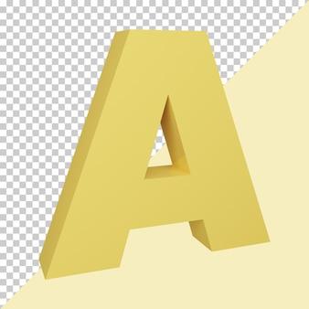 3d визуализация творческой желтой буквы алфавита