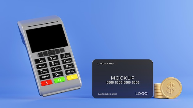 3d render of credit card reader operating payment process with credit card mockup