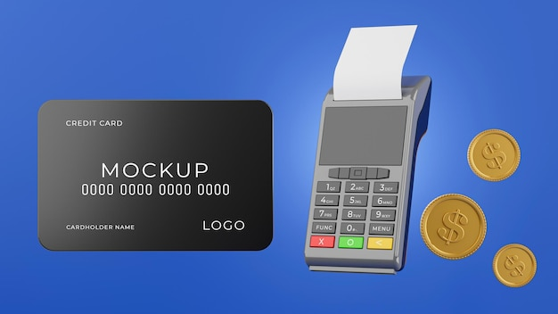 3d render of credit card reader operating payment process with shopping mockup