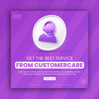 3d render customer care icon business promotion for social media post design template