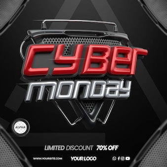 3d render cyber monday for composition in general stores