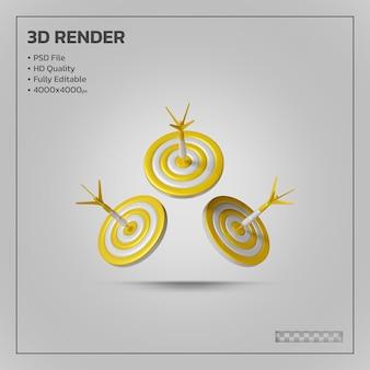 3d визуализация дартс для цели со стрелкой яблочко