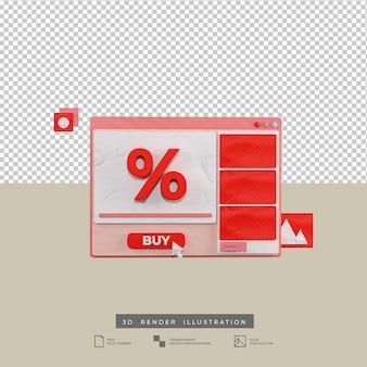3dレンダリング割引商品ウェブ赤テーマデザインイラスト