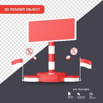 연단과 인도네시아 국기가 있는 3d 렌더링 할인 프로모션
