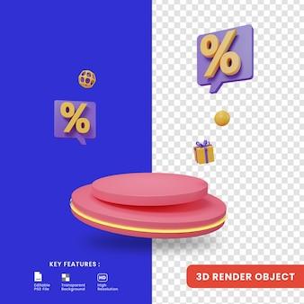 3d render discount promo with podium