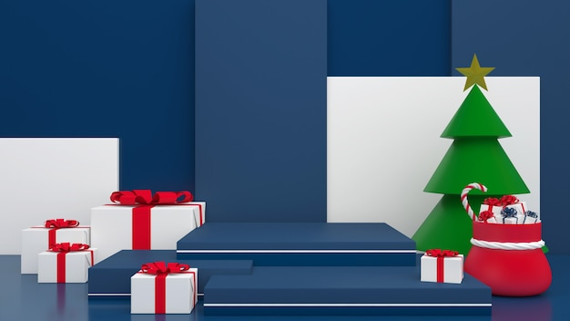 3d render display blue background color merry christmas and happy new year mockup