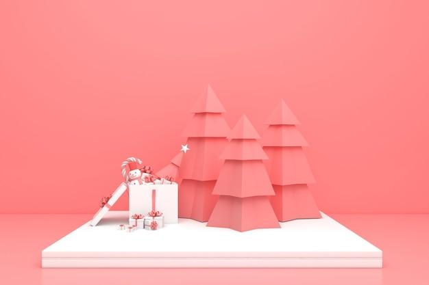 3d 렌더링 디스플레이 파스텔 컬러 메리 크리스마스와 새해 복 많이 받으세요 모형