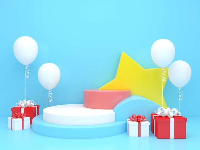 3d render display pastel color merry christmas and happy new year mockup