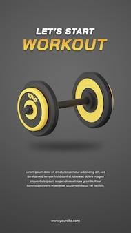 3d визуализация гантелей с темным шаблоном дизайна историй в социальных сетях