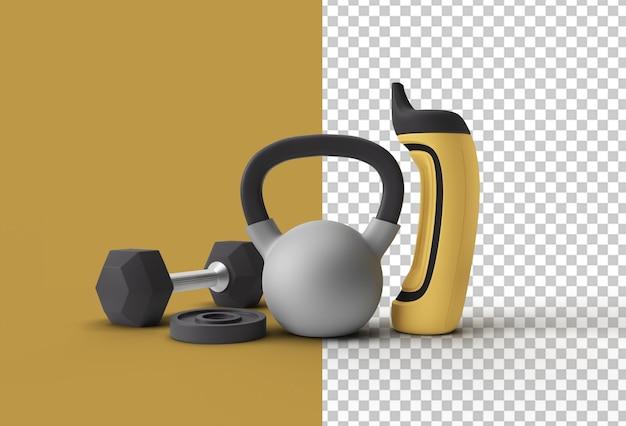 3d визуализация набор гантелей спортивный элемент фитнес-макета