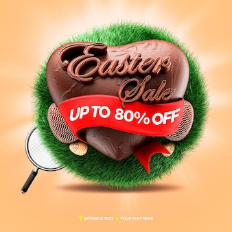 3d render easter sale with chocolate heart and grass