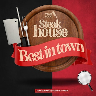 3d render element steak house best in town board with cleaver fork