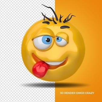 3d render emoji crazi for composition