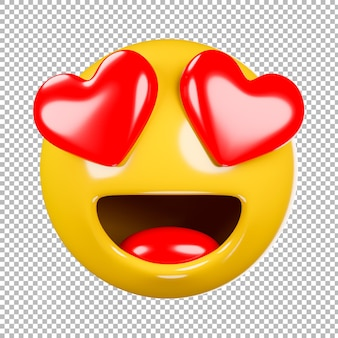 3d render of emoji or emoticon with transparent background,clipping path.