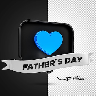 3d рендеринг день отца facebook blue love реакция с редактируемой лентой премиум psd Premium Psd