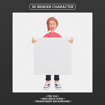 3d render female character holding blank placard